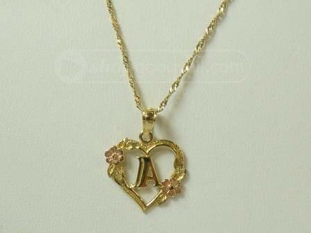 5335g 14k gold necklace with heart shaped a pendant the pendant has two rose gold flowers with an a in the middle 22 grams country united states audiocablefo